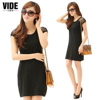 2014 summer  women slim lace  elastic casual basic Dresse Y0118