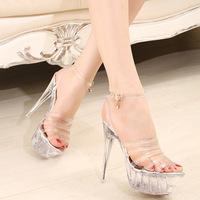 14CM Heel Height 2014 Summer PU Material Lucid Crystal Platform Sexy Women's High Thin Heel Comfortable Breathable Sandals