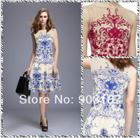 Free shipping 2014 Heavy embroidery summer new luxury temperament Slim Dress ML058