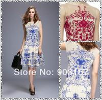 Free shipping 2014 Heavy embroidery summer new luxury temperament Slim Dress ML058