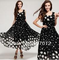 On Sale Promotion 2013 summer autumn new style cute polka dot BOHO maxi long beach chiffon dresses women free shipping