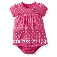New arrival! wholesale carter's original baby girl short sleeve pink polka dot sunsuit,  100%cotton,high quality, 5pcs/lot