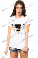 MZ015 Best quality, new 2014 women clothing sex Printed fashion cotton summer t shirt tops for women white tee women t-shirts