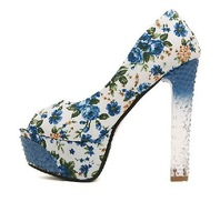 Thick heel crystal round toe floral print cloth shoes 2014 fashion ultra high heels platform shoes women's