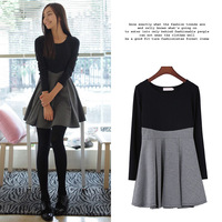 1749 spring hot-selling color block decoration slim waist expansion bottom o-neck long-sleeve basic one-piece dress