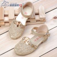 2014 shoes gold silver rivet net fabric female child princess shoes leather toe cap covering sandals