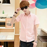 2014 shirt male business casual short-sleeve square collar Pink slim shirt p16