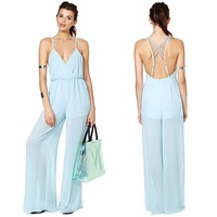 Women's Light blue chiffon jumpsuit Deep V-neck back cross ribbon invisible zipper back long fashion overalls Plus size XS-XXL