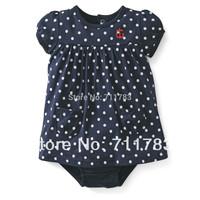 New arrival! wholesale carter's original baby girl short sleeve Polka dot sunsuit, bodysuit,  100%cotton,high quality, 5pcs/lot
