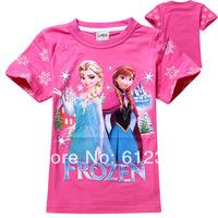 Free Shipping(6pcs/lot) 2014 New Summer Baby girls frozen t shirts children summer t shirts kids brand t-shirts 20 colors