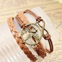 Sunshine jewelry store fashion leather hunger game bracelets & bangles ( $10 free shipping )