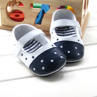 Wholesale 2014 New Top Quality Best Price Spring Autumn Fretwork Polka Dot White + Blue PU Rubber Soft Bottom Baby Girl Shoe