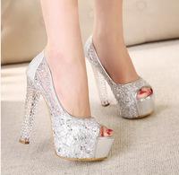 13CM Heel Height 2014 Summer PU Material Exposed Toe Platform Sexy Lace Crystal Heel Women's Casual High Heel Princess Sandals