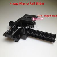 "EU SALES Black Aluminum 4 way Macro Focus Rail Slider for Camera with 1/4"" Tripod Head"