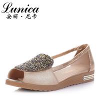 Sandals sweet genuine leather rhinestone gauze shoes flat heel open toe shoe female sheepskin flat 9006
