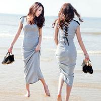 New 2014 Fashion Sexy OL Lady Solid Slim Tassel Bandage Back Dresses Women Beach Summer Long Dress Black Gray plus size S M L
