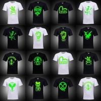 2014 male neon light emitting luminous short-sleeve T-shirt hiphop hip-hop t-shirt 100% cotton short-sleeve  Free shipping