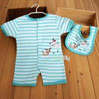 2014 children's clothing baby clothes baby summer 100% cotton one piece romper one piece sleepwear child romper blue stripe dog