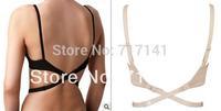 3pecs/lot Fast Shipping 2014 Hot Export New Fashion European Ladies Women Back Converter V Bra Low Cross Fasten Strap Televis