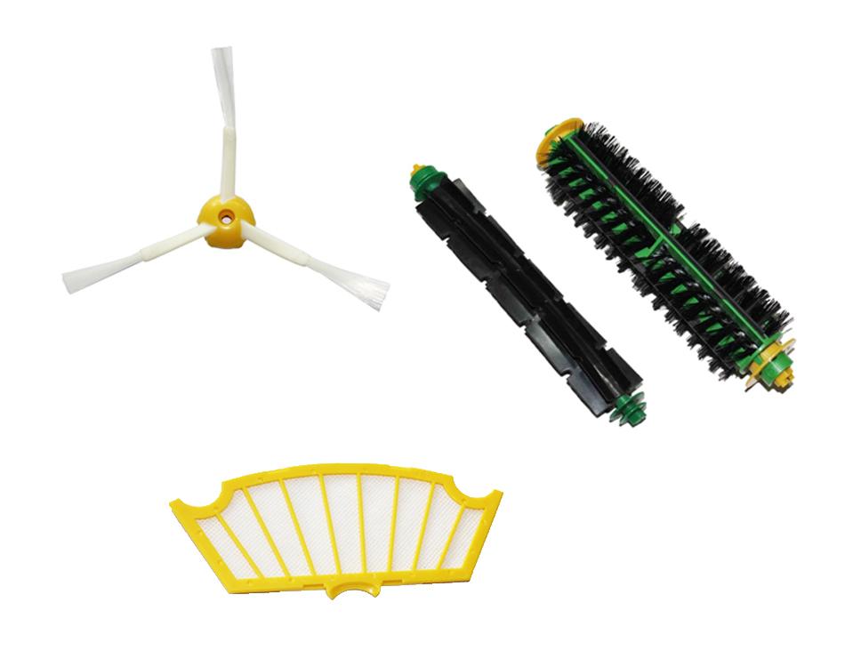 Frete Grátis Escova lateral Filtro Mini Kit 3 Armados para iRobot Roomba 500 Series filtro de aspirador de pó robô aspirador de pó(China (Mainland))