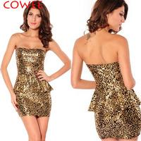 COWEE 2014 evening dress gold leopard  ruffle hem tube top fashion one-piece dress 2714