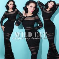 Fashion elegant black perspective wide stripe slim sexy full dress