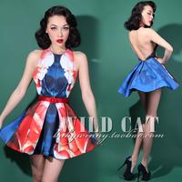 Party red blue big racerback halter-neck 0.42kg expansion skirt