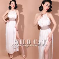 Elegant all-match fresh silks and satins elegant placketing full dress
