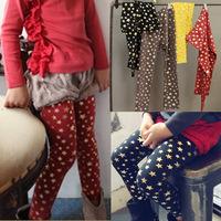 Children trousers spring 2014 thin female child legging five-pointed star trousers skinny pants female child legging