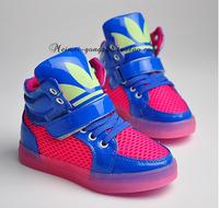 New 2014 Fashion Basketball Running Children Boots Super Luminous Boys / Girls Children Shoes Kids