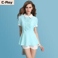 Summer women's 2014 short-sleeve top chiffon shirt fashion women's rhinestones embroidery basic shirt chiffon shirt female