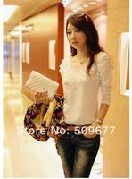 feeling dress fashion spring summer New 2014 T-Shirt XXL Plus Size Women Clothing lace Tops Tee Short T Shirt black white