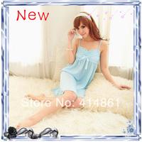 New 2014 Summer female nightgown viscose princess spaghetti strap nightgown gauze lace temptation sexy sleepwear