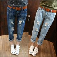 Fashion boyfriend casual hole ankle length trousers female plus size loose harem jeans pants hole jeans female