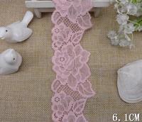 Wholesale Lot   Pretty Pink  elastic stretch flower lace trim   6.1cm