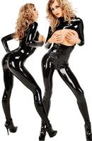 2014 Sexy Erotic Spandex Stretch Bodysuit Women Jumpsuit PVC Faux Leather Outfit Lingerie Hot Nighty Nightwear DS wear 10321