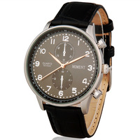 Trend fashion Brand Moment 8010 Men casual date display Water Resistant Analog man Watch with Faux Leather Strap (Black )