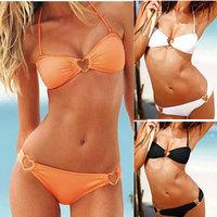 2014 Real Swimsuit Biquinis Women Push Up Bikini Free Shipping Victoria Swimwear Alloy Heart Decoration Sexy Spa Beach Dyyy-0199