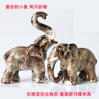 Elephant Figurine Ceramic Money Drawing Ornaments Antique  Hand Made South East Asia Crafts & Gifts Home Living Room Decoration