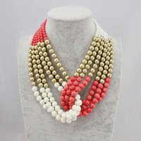 New Arrival Newest Fashion Women Brand Bohemian Multilayer Beads Pendant Necklaces Statement Jewellery Necklace Wholesale
