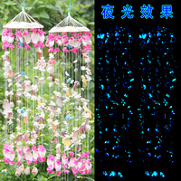 Luminous shell wind chimes delicate windbell noctilucence wind chimes  purple natural conch windbags hangings gift