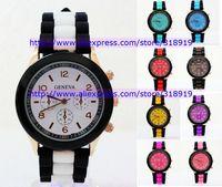 50pcs/lot 2014 new black band double colors geneva silicone watch jelly rubber watch unisex men women quartz watch 10 colors