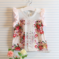 New 2014 Summer baby&kids clothing girls Korean Fly sleeve floral lace shirt baby girls lace blouses 5pcs/lot