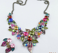 2014 New Luxury Fashion Vintage Multi-colored  Rhinestone Necklace Statement  Necklaces & Pendants Brand Jewelry For Women