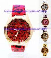 Discount sale 2014 WOMAGE leopard women watch ladies quartz PU leather dress fashion sport wrist watch 7 colors 200pcs/lot