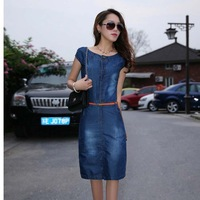 2014 New Arrival Tops Fashion Hot-selling women's  slim denim spring summer slim hip step casual party one-piece dress