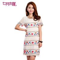 free shipping 2013 female one-piece dress high quality flower stripe short-sleeve dress