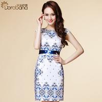 Dora 2014 summer women's white collar fashion OL outfit short-sleeve dress slim  Free shipping