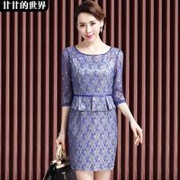 Women's ol fashion elegant lace 2014 faux two piece one-piece dress  Free shipping