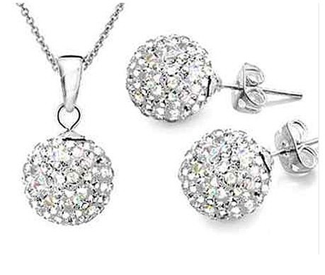 Shamballa Jewelry sets(earrings and pendant) Without Chain,2013 hot Sellings,have more Color,Can be mixed batch(China (Mainland))